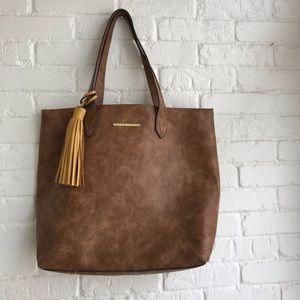 Steve Madden Brown Tote Handbag Faux Leather Large